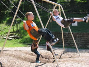 Students on swings
